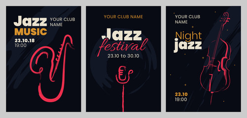 Vector set of posters for a jazz festival or concert with musical instruments.