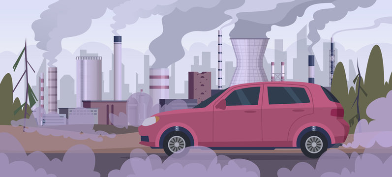 Polluter car. Atmospheric pollution industrial factory automobile traffic engine smoke bad urban environment vector background. Pollution from car and factory illustration