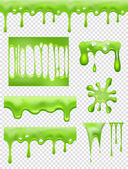 Slime. Green Glue dipping and flowing liquid drops and toxic splashes vector pictures. Slime toxic, messy green drip, splatter and dribble, sticky stain illustration