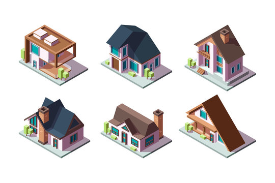 Private house. Residential modern buildings 3d low poly constructions isometric vector collection. Illustration 3d isometric building, property estate house