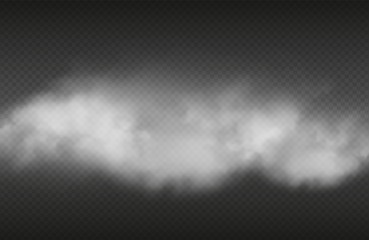 Poster Smoke Smoke effect. Vector realistic smoke or for isolated on transparent background. Illustration cloud smoke transparent, steam cigarette or cigar