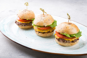 Mini burgers served for dinner