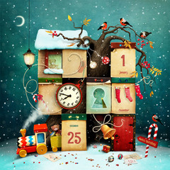 Fantasy winter holiday greeting calendar, conceptual art, for greeting card or poster or advent calendar with Christmas or New Year element.