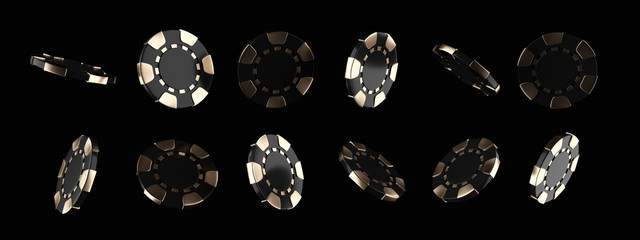 Modern Black And Gold Casino Chips, Isolated On The Black Background - 3D Illustration
