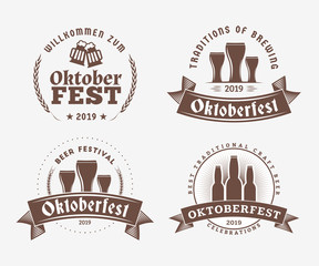 Beer festival Oktoberfest celebrations. Set of retro vintage beer badges, labels, logos for bar, pub, beer party. Vector design elements