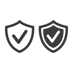 Shield with check mark icon on white background.