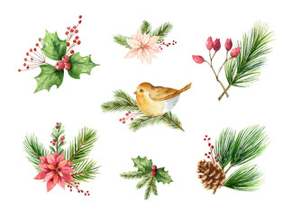 Watercolor vector Christmas set of decorative compositions for your design.