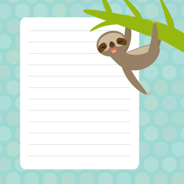 Card design with Kawaii sloth with blue pastel colors polka dot lined page notebook, template, blank, planner background. Vector