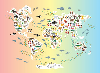 Cartoon animal world map for children and kids, back to schhool. Animals from all over the world white continents islands on rainbow background of ocean and sea. Scandinavian decor. Vector
