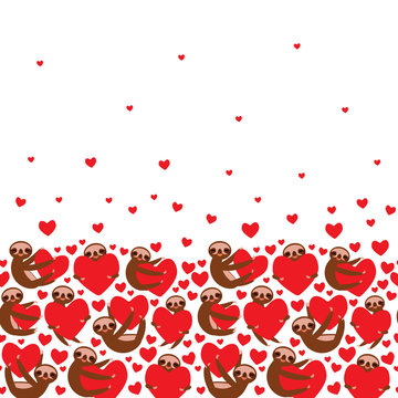 card Three-toed sloth holding red heart, isolated on white background. Valentine's Day Card banner template. Funny Kawaii animal. Can be used for Gift wrap, fabrics, wallpapers. Vector