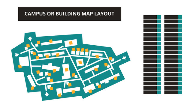 Vector editable floor plan with fields for logos or titles – campus or building map in green color isolated on a white background. Suitable as a map of shopping mall, production hall, festival or shop