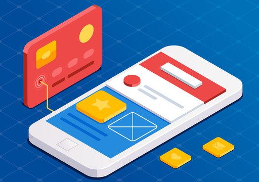 Mobile App Development, flat 3d isometric style. Blue web design. Front end developer app. Working on start-up.