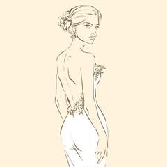 Elegant bride in beautiful dress, posing woman
