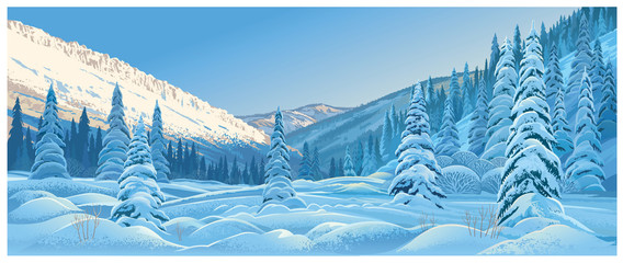 Fototapeta Winter mountain landscape with snowdrifts and snowy fir trees.
