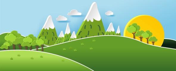 Fond de hotte en verre imprimé Piscine 3D landspace concept design. Colorful hand crafted art. Paper cut style. Vector illustration EPS10.