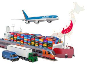 Cargo shipping and freight transportation in Japan by ship, airplane, train, truck and van. 3D rendering