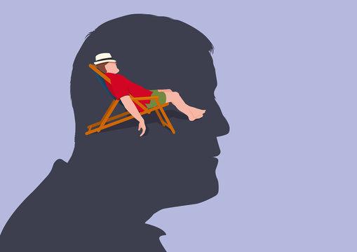 Concept de la relaxation mentale, avec un homme vu de profil qui s'imagine allongé sur une chaise longue en train de se reposer.