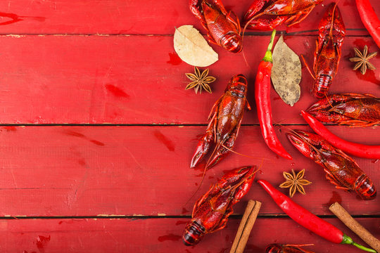 Crayfish. Red boiled crawfishes on table in rustic style,  Lobster closeup.