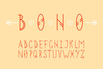 Simple geometric alphabet in boho style. Rounded straight lines in the oblong latin letters. Vector set in scandinavian motifs.