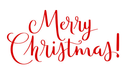 Wall Mural - MERRY CHRISTMAS red vector brush calligraphy banner