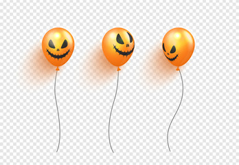 Halloween balloons isolated on transparent background.Vector illustration