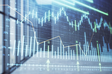 Double exposure of financial chart on empty room interior background. Forex market concept.