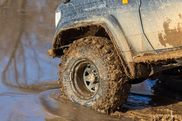 SUV wheel stalled in mud and water