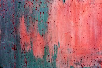 Poster Graffiti Background concrete wall, traces of weathering, worn wall damaged paint old paint. Remains of old paint on painted concrete surface. Grungy concrete surface. Traces of old paint of graffiti on wall
