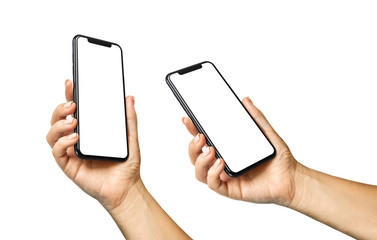 Woman hand holding the black smartphone with blank screen isolated on white - horizontal and rotated positions