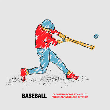 Baseball player hit the ball. Vector outline of Baseball player with scribble doodles.