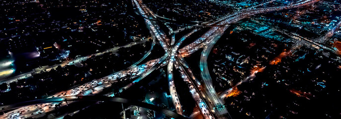 Wall Murals Night highway Aerial view of a massive highway in Los Angeles, CA at night