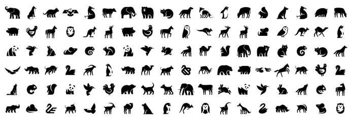 Tuinposter Uilen cartoon Animals logos collection. Animal logo set. Isolated on White background