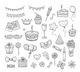 Birthday sketch. Happy birthday celebration party hand drawn items. Cake kids holiday doodle art drawing vector elements. Cake and birthday card, gift box illustration