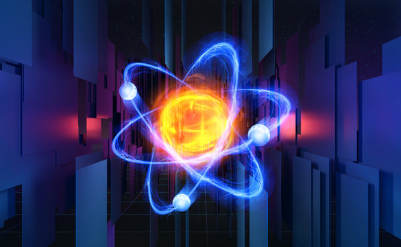 Atom 3d illustration. Basis of universe. Particle of God, First Matter. Study of structure of universe. Hadron Collider and Future Technologies