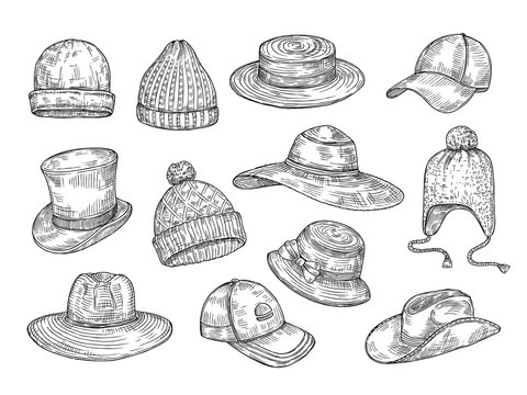 Sketch hats. Knitted winter and summer hats, hand drawn warm cap, doodle headdress accessories vector isolated set. Illustration headdress and cap, hat winter