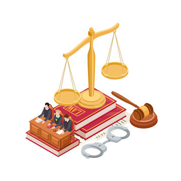 Isometric law and justice vector concept. 3D scale of justice, mallet, law book and judge isolated on white background. Justice and law, courtroom isometric, judge and court illustration