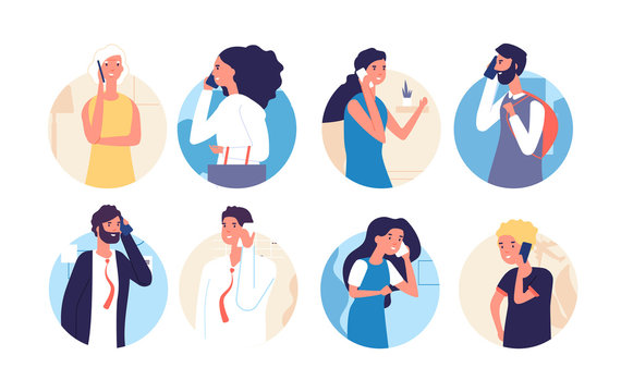 People talking phone. Person, family calling by telephone. Communication and conversation with smartphone vector cartoon characters. Illustration people smartphone call, phone communication
