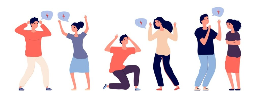 Angry couples. Aggressive conflicted people vector characters. Bullying, mental violence. Couple aggressive conflict, people quarrel illustration