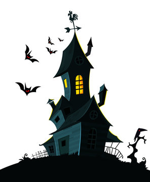 Spooky Halloween background with hounted scary house