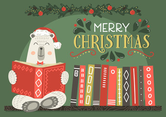 Merry Christmas greeting card. Fantasy white bear in Christmas hat reading book.