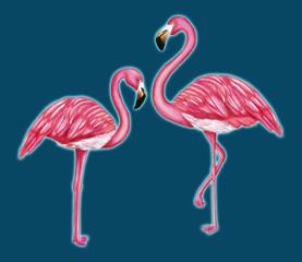 Canvas Prints Flamingo Glowing flamingos on a dark blue background