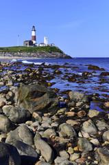 Coastal scene with Montauk Lighthouse on Atlantic Ocean, Long Island, New York