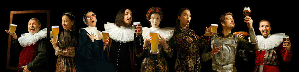 Young people as a medieval grandee on dark studio background. Drinking beer. Collage of portraits in retro costume. Human emotions, comparison of eras. oktoberfest and facial expressions concept. Fototapete