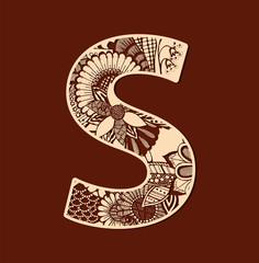 Letter S from doodles. Initial monogram letter