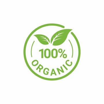 100% Organic Natural Badge Label Seal Sticker logo design