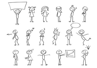 Funny children drawings - set of stick figures in different poses. Material for slide shows, presentations and all sorts of prints. Simple hand drawn doodles in black and white.