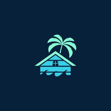 beach house illustration blue black