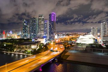 Wall Mural - Night shot of Downtown Miami FL