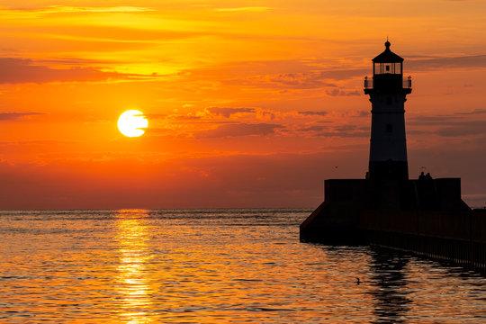 Lake Superior Breakwater Lighthouse At Sunrise
