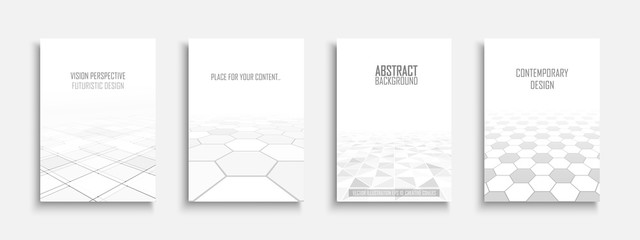 Collection of vector abstract contemporary templates, covers, placards, brochures, banners, flyers, backgrounds. White futuristic tile floor design with perspective